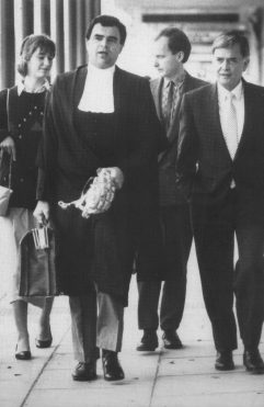 Entering the Supreme Court building with Brian Martin QC June 1988.