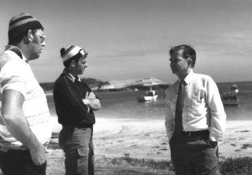 On the campaign trail, with rock lobster fishers at Carpenters Rocks, 1982.