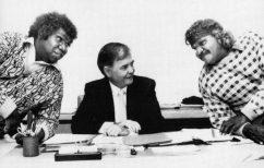 Meeting with two Pitjantjatjara men at Nganampa Health Service, 1988.