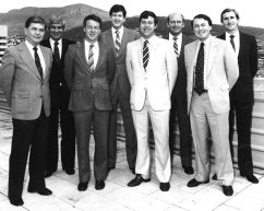 National Health Minister's Conference, Hobart, 1983. Standing next to Federal minister, Neal Blewett and NSW minister Laurie Brereton, far right.
