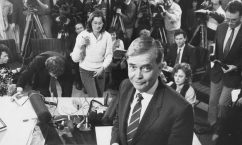 media conference announcing resignation as Minister of health and Community Welfare, 4 August 1988.