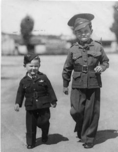 As Captain John with brother, pilot Officer Terry, on drill parade. Bendigo, Victoria, 1942