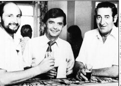 John Cornwall (centre) with Chris Sumner and Roy Abbot at the Trades Hall Club celebrating our pre-selection at the State Conference, June 1974.