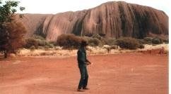 Gary Foley, mid crouch in ceremonial dance at Uluru during our visit to the APY Lands in 1983.