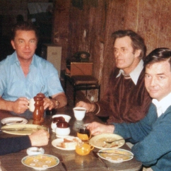 Breakfast at the 'de luxe' dug out of ALP's Coober Pedy Sub-Branch president. Chris Sumner, Jim Dunford, Norm Foster and I were sent on an heroic door knocking drive to sign up miners on the electoral roll in 1977.